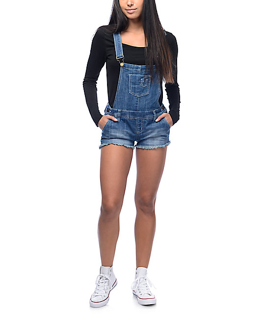YMI Shortalls Medium Wash Fray Hem Overall Shorts