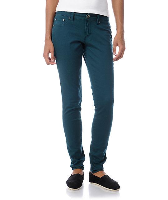 YMI Teal Twill Skinny Pants