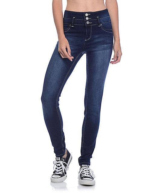 YMI WannaBettaButt 3 Button Dark Wash High Wasted Skinny Jeans