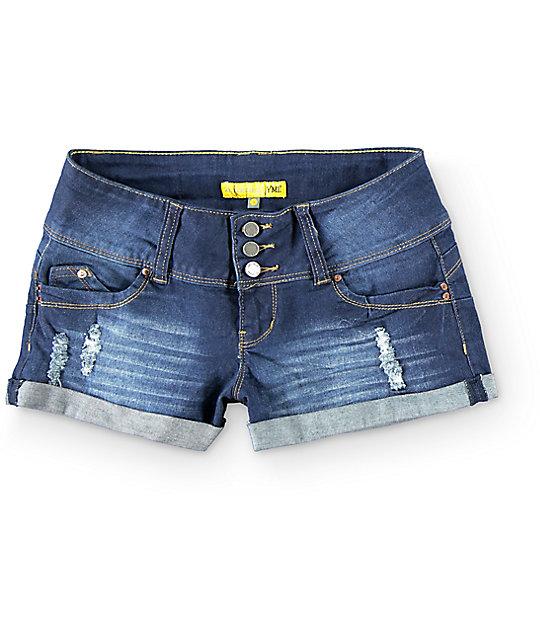 YMI WannaBettaButt Dark 3 Button Rollcuff Shorts