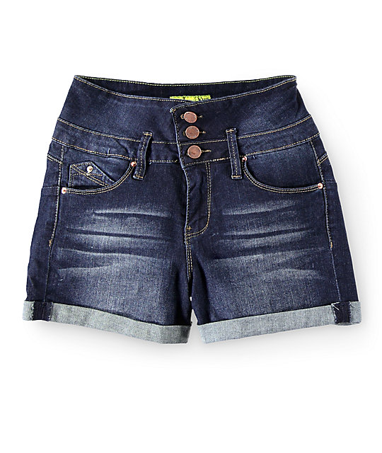 YMI WannaBettaButt Dark Wash High Waisted Denim Shorts at Zumiez : PDP
