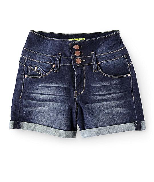 WannaBettaButt Dark Wash High Waisted Denim Shorts