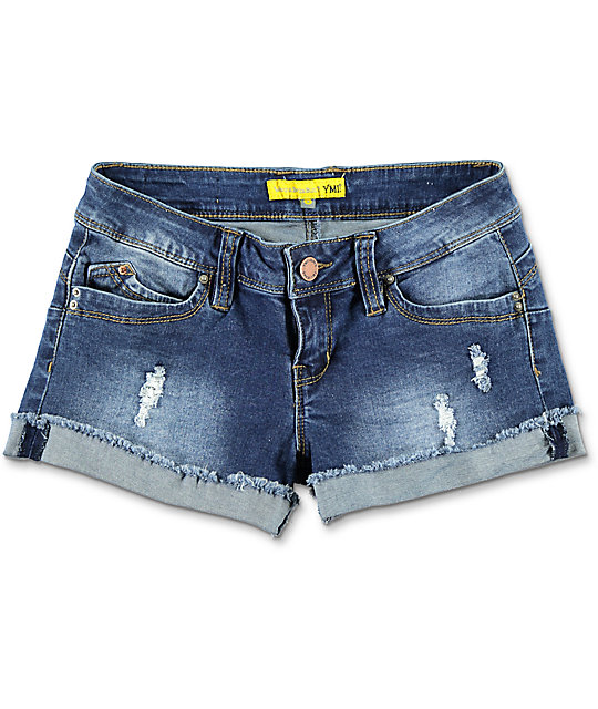 YMI WannaBettaButt Destructed Medium Wash Denim Shorts