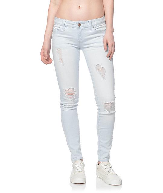 WannaBettaButt Light Washed Blue Destroyed Skinny Jeans