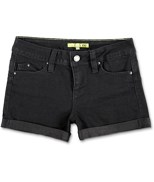 YMI WannaBettaButt Mid Rise Black Twill Shorts