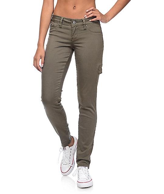 WannaBettaButt Olive Cargo Skinny Jeans