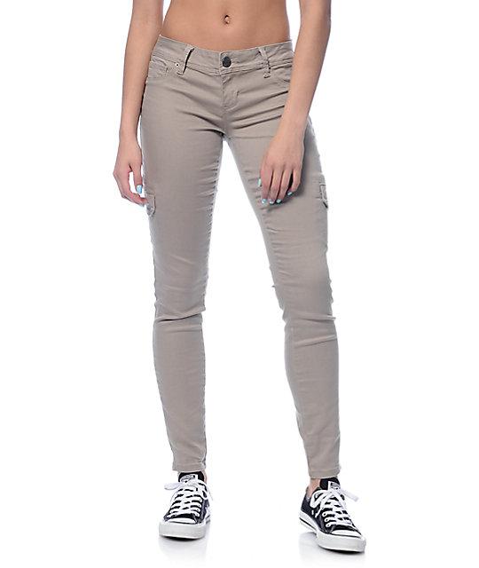 WannaBettaButt Sand Cargo Skinny Jeans