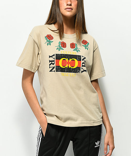 Yrn Rose Frame Cream T Shirt by Yung Rich Nation