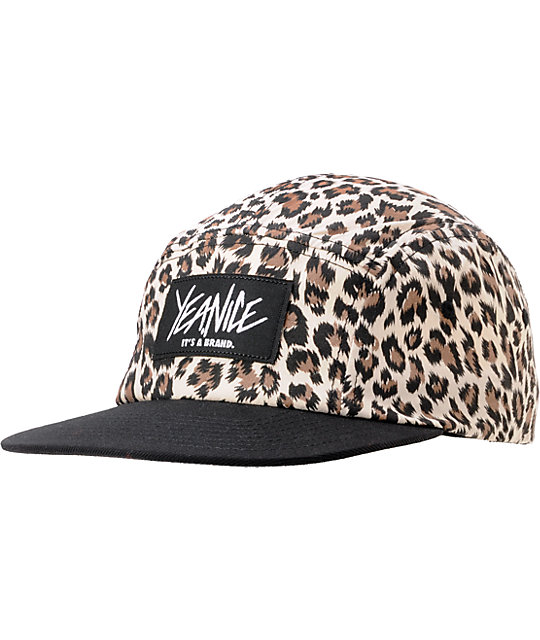 Yea.Nice Get Wild Black & Cheetah Print 5 Panel Hat