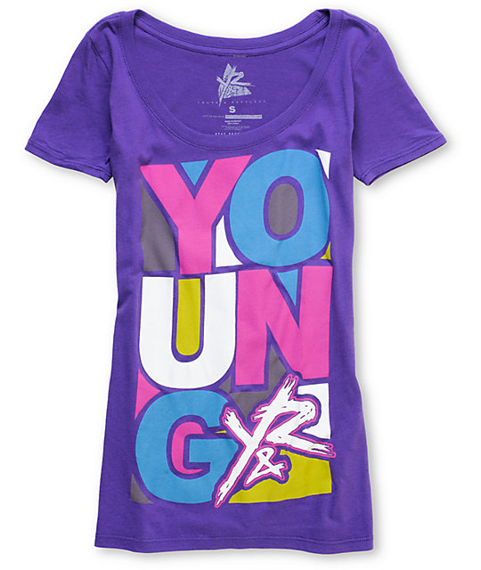 Young & Reckless Artist Purple Scoop Neck T-Shirt