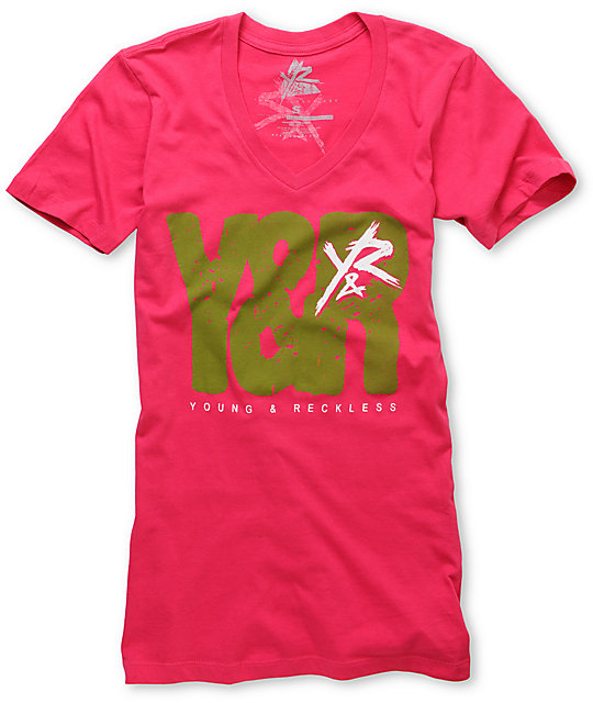 Young & Reckless Block Letter V-Neck T-Shirt