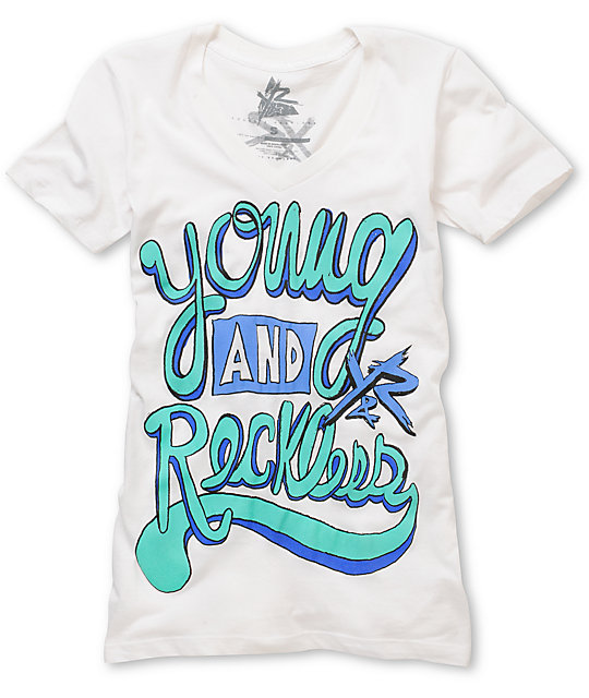 Young & Reckless Cursive White V-Neck T-Shirt