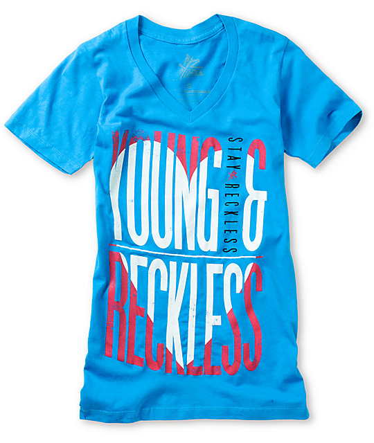 Young & Reckless Heart Turquoise V-Neck T-Shirt
