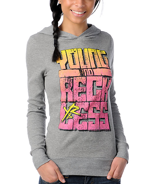 Young & Reckless Jagged Edges Thermal Pullover Hoodie