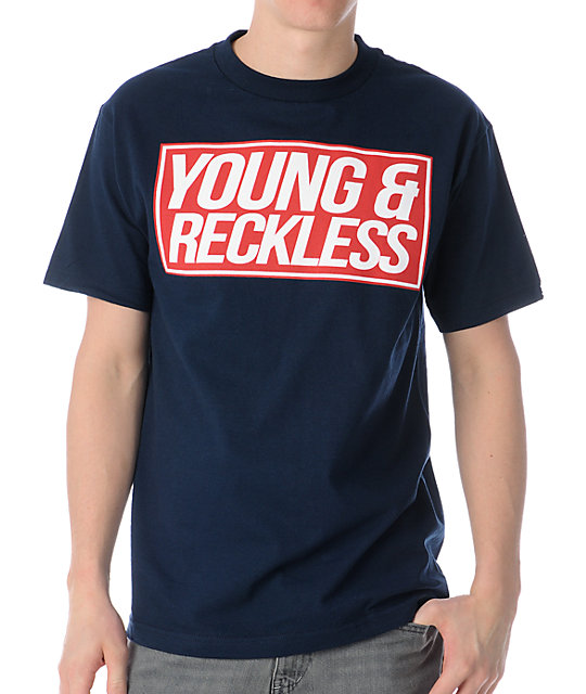Young & Reckless Simple Rectangle Navy T-Shirt