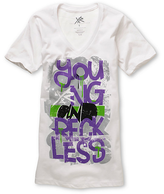 Young & Reckless Stacked 2 White V-Neck T-Shirt