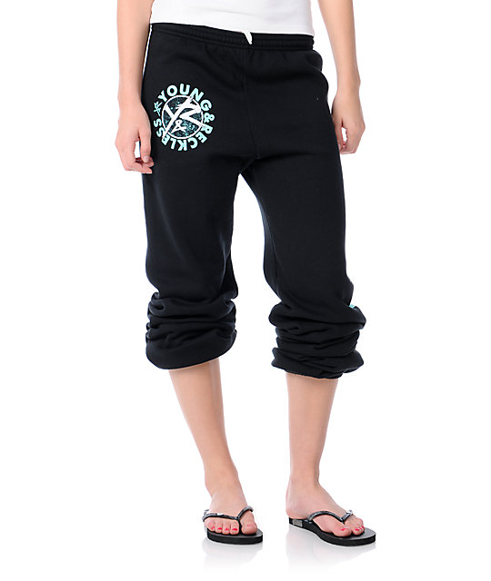 Young & Reckless Stay Reckless Black & Turquoise Sweatpants