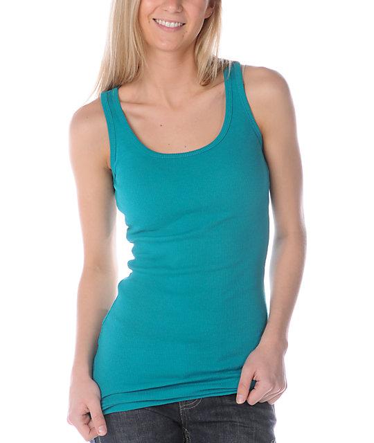 Zine 2X2 Rib Turquoise Tank Top
