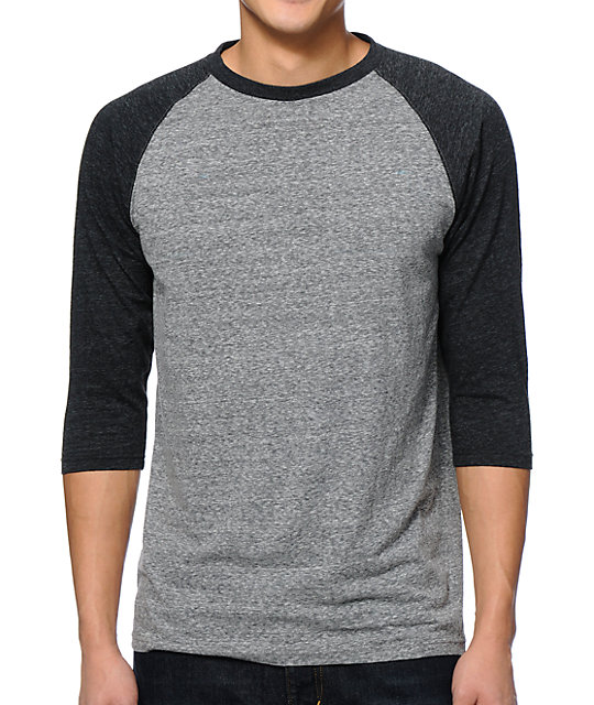 2nd Inning Charcoal & Heather Black Baseball T-Shirt
