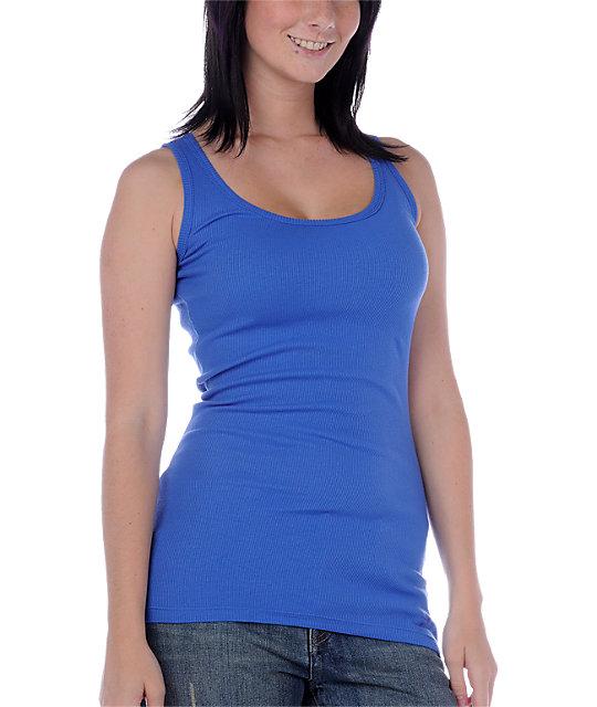 Zine 2x2 Rib Blue Tank Top