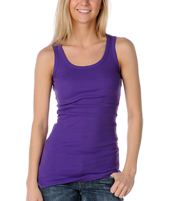 Zine 2x2 Rib Pansy Purple Tank Top