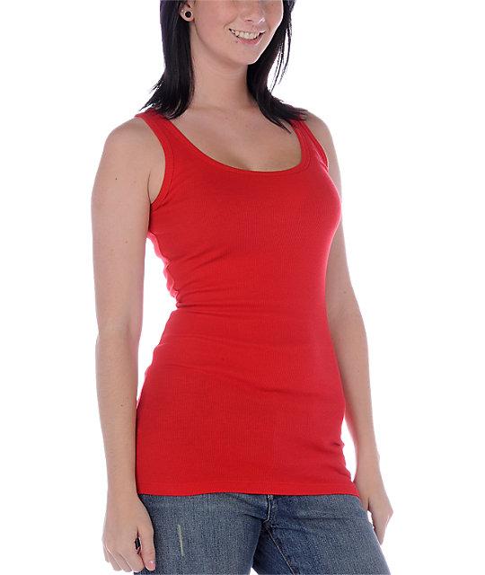 Zine 2x2 Rib Red Tank Top