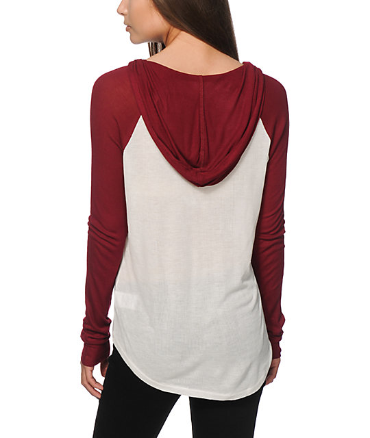 Zine Anderson Blackberry & White Hooded Henley Shirt