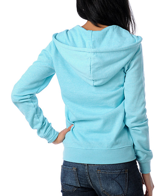 Zine Aqua Salt & Pepper Zip Up Hoodie