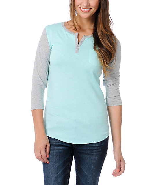 Zine Aruba Blue & Heather Grey Henley Baseball Tee