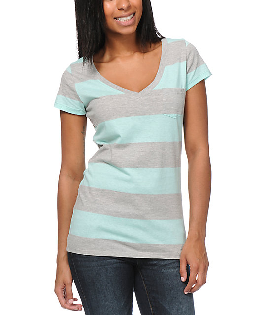 Zine Aruba Grey & Turquoise Stripe V-Neck Pocket T-Shirt