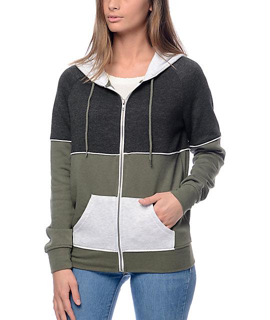 Zine Auden Green Colorblock Zip Up Hoodie