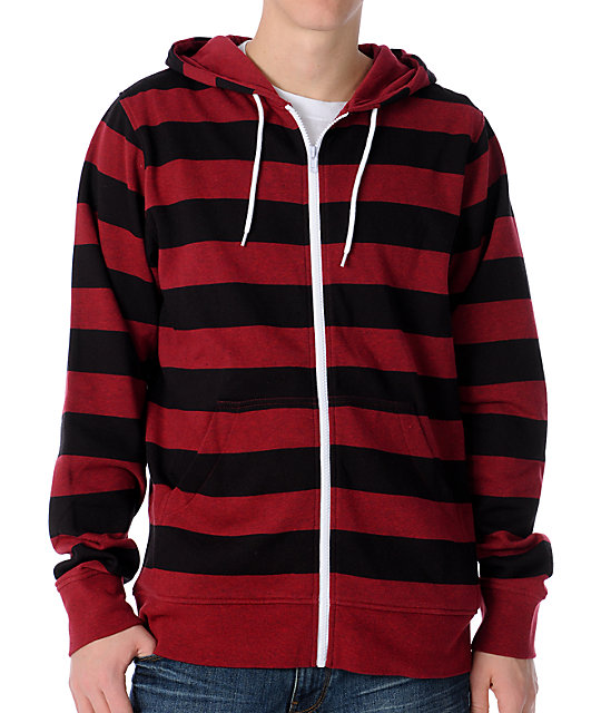 Red And Black Zip Up Hoodie Hardon Clothes