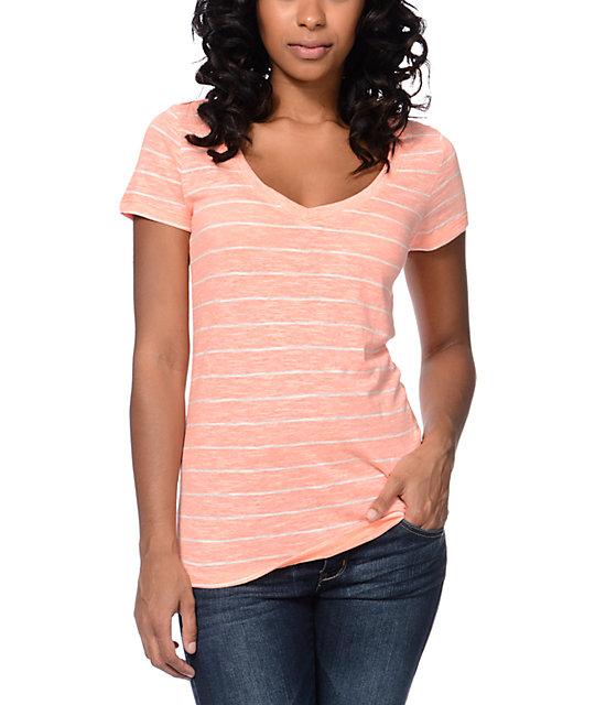 Zine beta coral stripe slub v neck t shirt zumiez for What is a slub shirt
