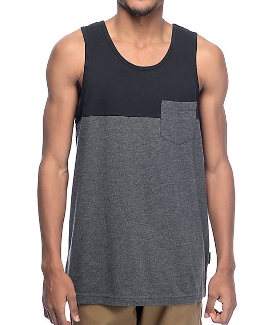 Zine Black & Charcoal Blocked Pocket Tank Top