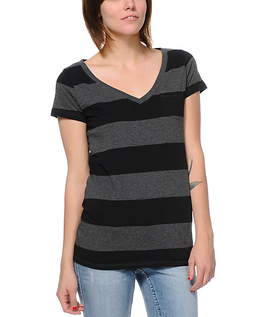 Zine Black & Charcoal Rugby Stripe V-Neck T-Shirt