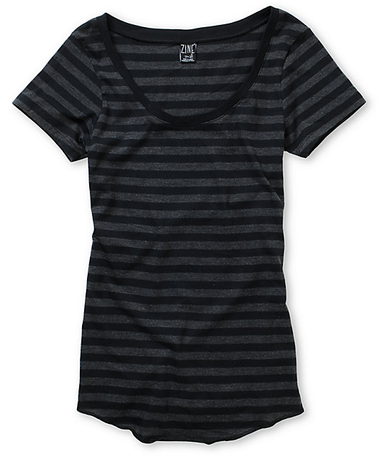 Zine Black & Charcoal Stripe Scoop Neck T-Shirt