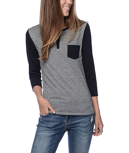 Zine Black & Grey Micro Stripe Henley Shirt