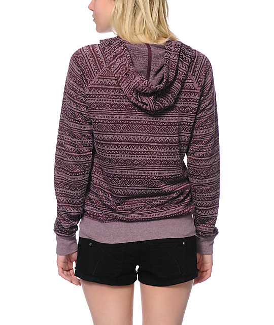 Zine Blackberry Purple Burnout Tribal Print Zip Up Hoodie