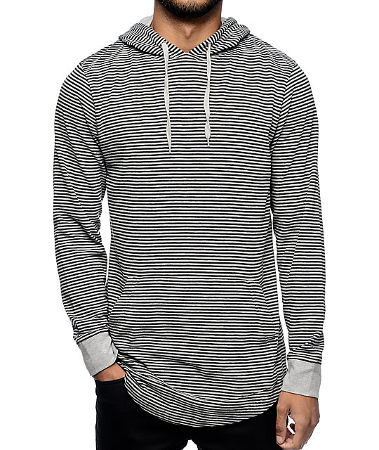 Zine Blank Slate Grey & Black Stripe Long Sleeve Hooded T-Shirt at ...