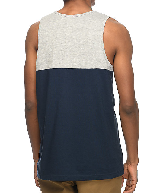 Zine Blocked Grey & Navy Pocket Tank Top