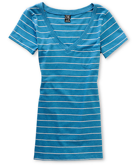 Zine Blue & Grey Stripe V-Neck T-Shirt