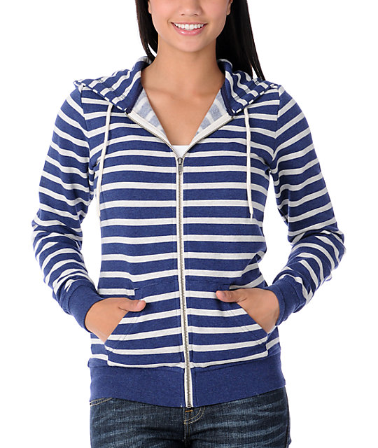 Zine Blue & Oatmeal Stripe Zip Up Hoodie