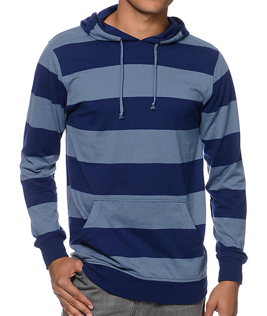 Zine Blue Beats Navy & Blue Striped Hooded Shirt