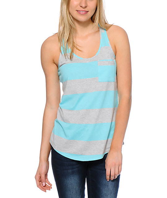 Zine Blue Radiance & Light Grey Rugby Stripe Pocket Tank Top
