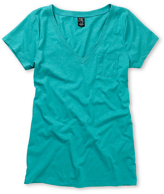Zine Bluegrass Green V-Neck T-Shirt