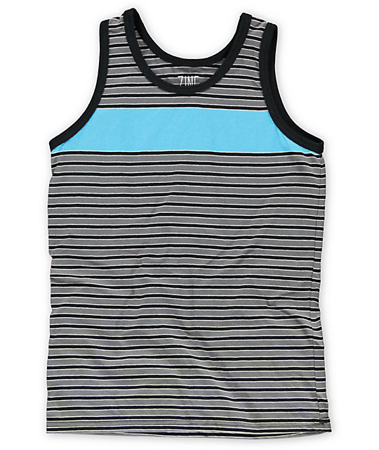 Zine Boys Blue Steel Teal & Black Stripe Tank Top