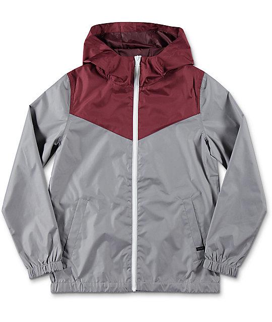 Zine Boys Sprint Maroon & Grey Windbreaker Jacket | Zumiez
