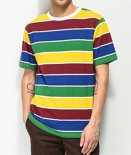 Zine Breaker Green, Blue &Amp; Yellow Striped T Shirt by Zine