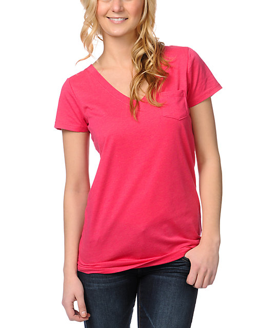 Zine Bright Rose Pink V-Neck T-Shirt