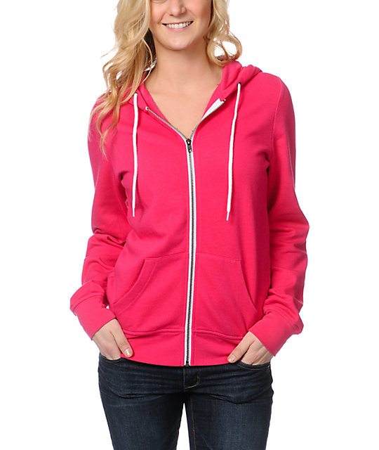 Zine Bright Rose Pink Zip Up Hoodie at Zumiez : PDP